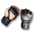 MMA Black Leather Gloves - Palm Strap