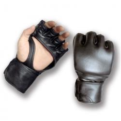 MMA Black Leather Gloves - Palm Strap
